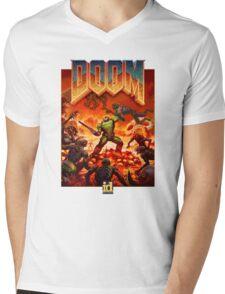 DOOM 4 (2016) Reboot Retro Box Art Mens V-Neck T-Shirt