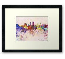 Jacksonville skyline in watercolor background Framed Print
