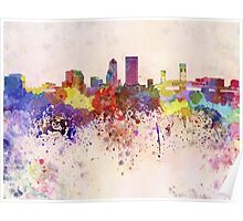Jacksonville skyline in watercolor background Poster