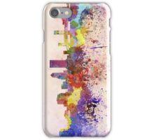 Jacksonville skyline in watercolor background iPhone Case/Skin