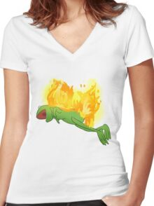 he yells Women's Fitted V-Neck T-Shirt