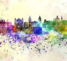 Valletta skyline in watercolor background by paulrommer