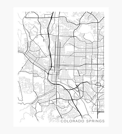 Colorado Springs Map, USA - Black and White Photographic Print