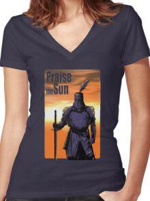 Praise The Sun Block Women's Fitted V-Neck T-Shirt
