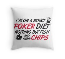 Poker diet: Fish and their chips Throw Pillow