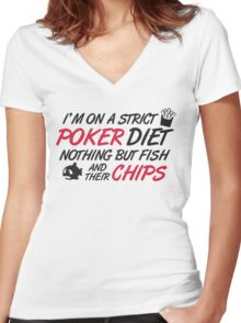 Poker diet: Fish and their chips Women's Fitted V-Neck T-Shirt