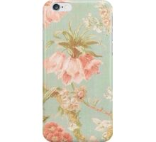 Shabby chic,floral,antiqued,pattern,mint,pink,off white,beige,rustic,chic,elegant, victorian,vintage,dark blue,old,wall paper,fabric,worn,old,modern,trendy iPhone Case/Skin