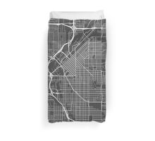 Denver Map, USA - Gray Duvet Cover