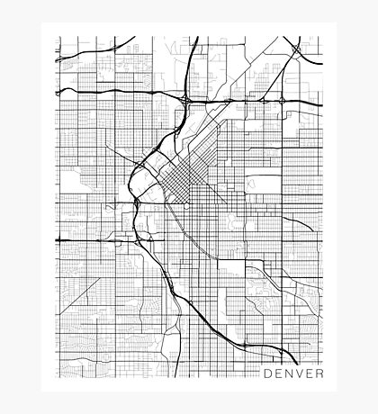 Denver Map, USA - Black and White Photographic Print