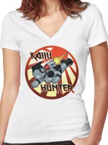 Kaiju Hunter Women's Fitted V-Neck T-Shirt