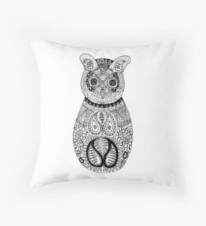 Fineliner owl Throw Pillow