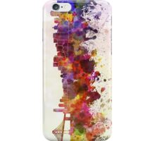 San Francisco skyline in watercolor background iPhone Case/Skin