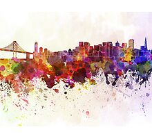 San Francisco skyline in watercolor background Photographic Print
