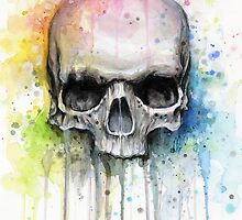 Skull Watercolor Painting by OlechkaDesign