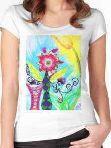 """Chex Floral"" by Jessie R Ojeda Women's Fitted Scoop T-Shirt"