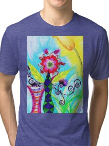 """Chex Floral"" by Jessie R Ojeda Tri-blend T-Shirt"