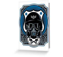 Drag Racing Helmet in Blue Greeting Card