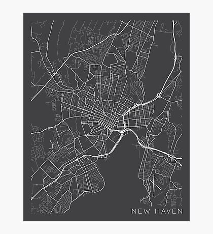 New Haven Map, USA - Gray Photographic Print