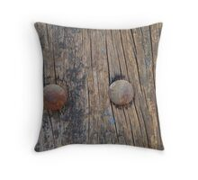 rustic,worn,grunge,old,wood wall,wood,2,rusted nails,vintage Throw Pillow