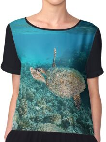 Sea turtle underwater coral reef Pacific ocean Chiffon Top