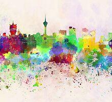 Macau skyline in watercolor background by paulrommer