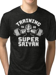Training To Go Super Saiyan (Vegeta Squat - Leg Day) Tri-blend T-Shirt