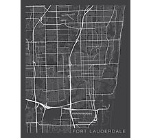 Fort Lauderdale Map, USA - Gray Photographic Print