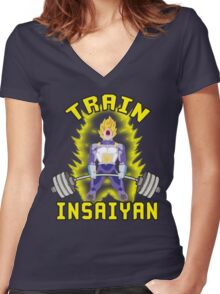 TRAIN INSAIYAN (Vegeta Deadlift) Women's Fitted V-Neck T-Shirt