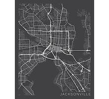 Jacksonville Map, USA - Gray Photographic Print