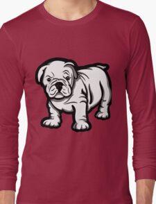 Grumpy Bull Dog Puppy White  Long Sleeve T-Shirt