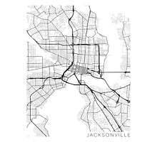 Jacksonville Map, USA - Black and White Photographic Print