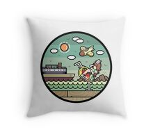 Sea and pinup Throw Pillow
