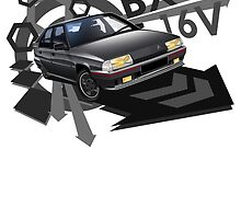 T-shirt 'Explosion' Citroen BX GTi 16V in Grey by RJWautographics