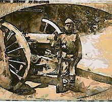 A digital painting of  a Serbian Child Soldier in Belgrade, Serbia,  World War I, 1914 by Dennis Melling