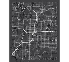 Orlando Map, USA - Gray Photographic Print