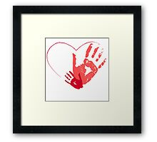 Hand painted heart with handprints Framed Print