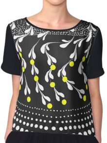black ad white lemon tree Chiffon Top