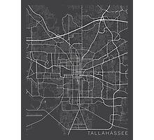 Tallahassee Map, USA - Gray Photographic Print