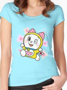 Cute Dorami Flower Doraemon Sister Women's Fitted Scoop T-Shirt