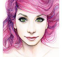 Beautiful Girl with Magenta Hair Photographic Print