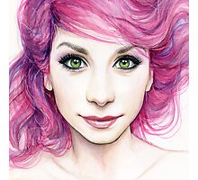 Beautiful Girl with Magenta Hair Photographic Print