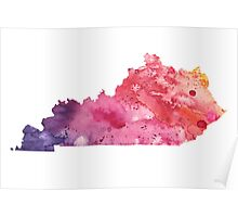 Watercolor Map of Kentucky, USA in Orange, Red and Purple - Giclee Print of my Own Painting Poster