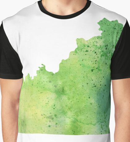 Watercolor Map of Kentucky, USA in Green  Graphic T-Shirt