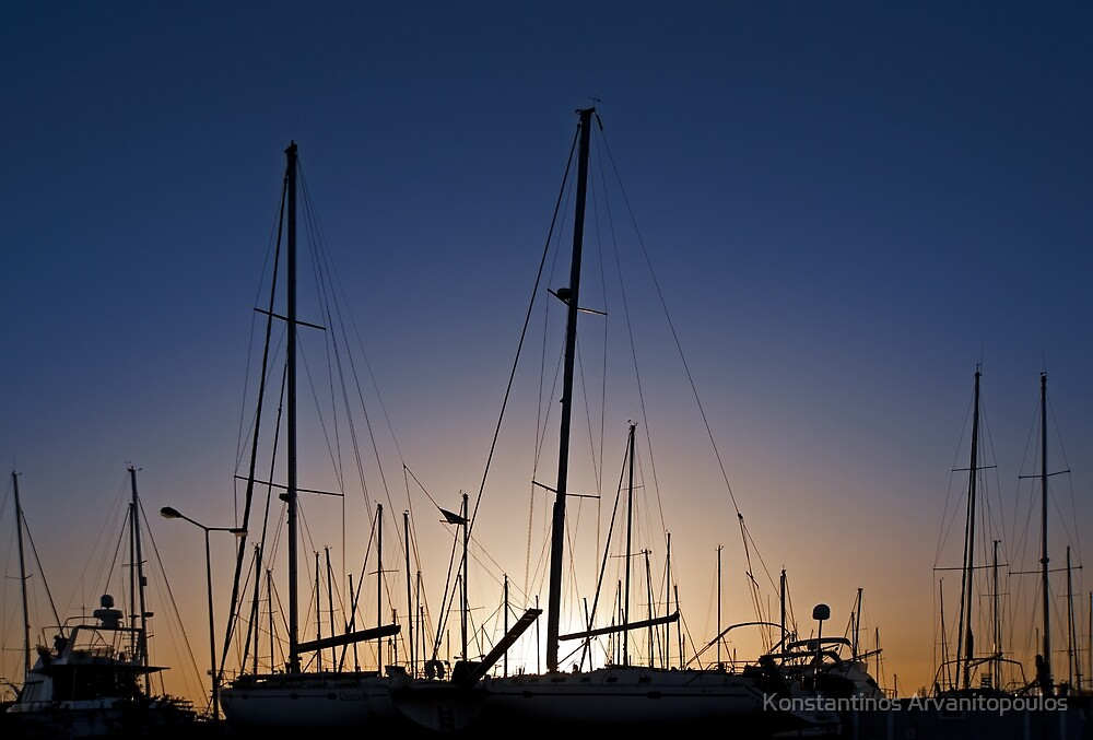 Sunset at the marina by Konstantinos Arvanitopoulos