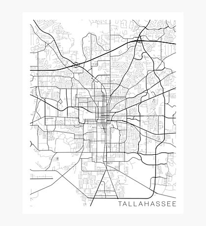 Tallahassee Map, USA - Black and White Photographic Print