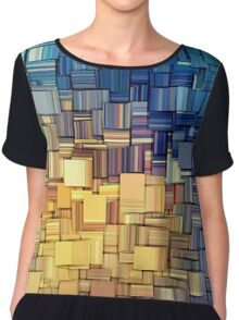 Blue & Yellow Abstract  Chiffon Top