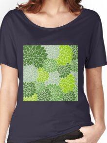 Green,lime,mint,white,retro,floral,design,vintage,pattern,chic,elegant Women's Relaxed Fit T-Shirt