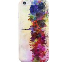 Toronto skyline in watercolor background iPhone Case/Skin