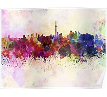 Toronto skyline in watercolor background Poster