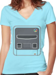 Super Minimal Entertainment System Women's Fitted V-Neck T-Shirt